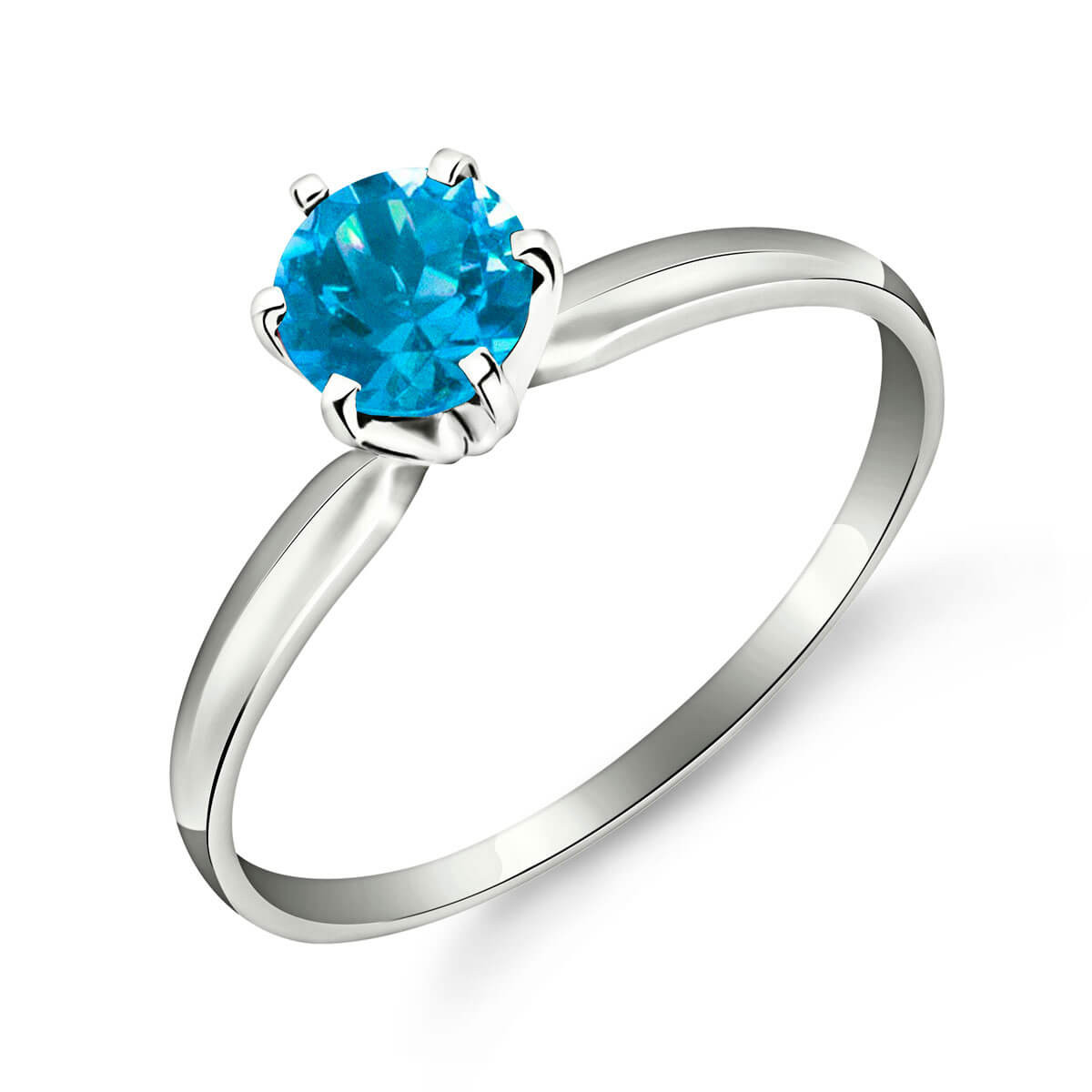 Blue Topaz Crown Solitaire Ring 0.65 ct in 9ct White Gold