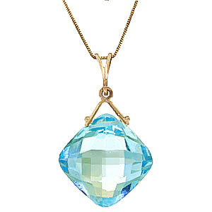 Blue Topaz Cushion Pendant Necklace 8.75 ct in 9ct Gold