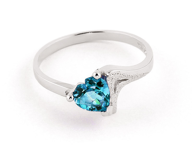 Blue Topaz Devotion Ring 0.95 ct in 9ct White Gold