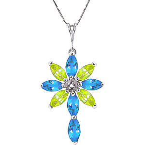 Blue Topaz, Diamond & Peridot Flower Cross Pendant Necklace in 9ct White Gold