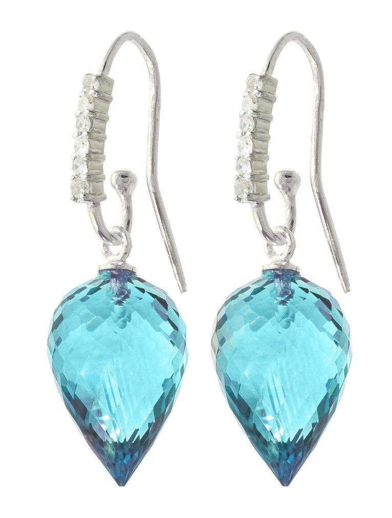 Blue Topaz Drop Earrings 22.68 ctw in 9ct White Gold