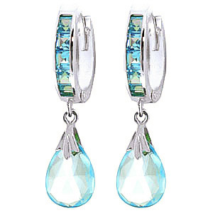 Blue Topaz Droplet Huggie Earrings 6.85 ctw in 9ct White Gold