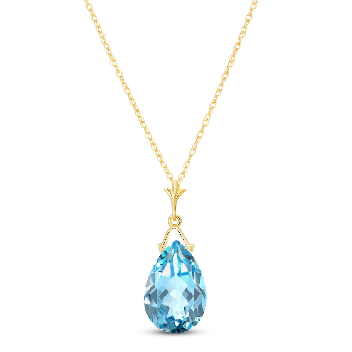 Blue Topaz Droplet Pendant Necklace 5.1 ct in 9ct Gold