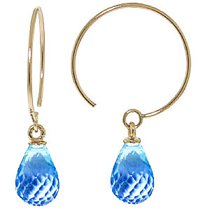 Blue Topaz Eclipse Circle Wire Earrings 1.35 ctw in 9ct Gold