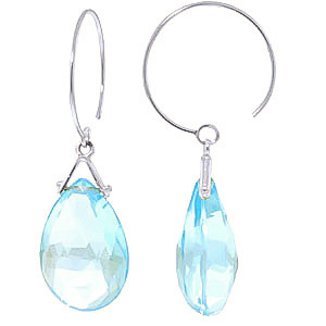 Blue Topaz Eclipse Circle Wire Earrings 10.2 ctw in 9ct White Gold