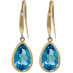 Blue Topaz Elliptical Drop Earrings 5 ctw in 9ct Gold