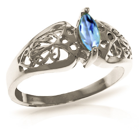 Blue Topaz Filigree Ring 0.2 ct in Sterling Silver