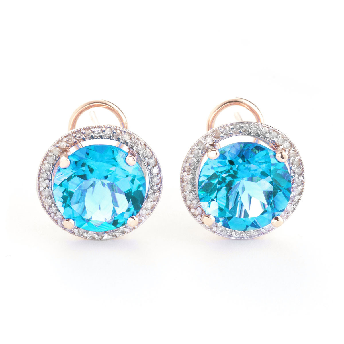 Blue Topaz French Clip Halo Earrings 16 ctw in 9ct Rose Gold