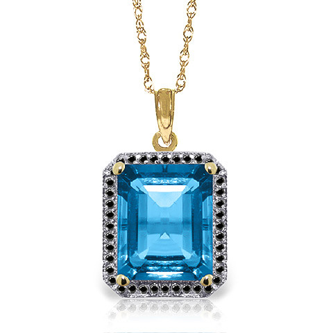 Blue Topaz Halo Pendant Necklace 7.8 ctw in 9ct Gold