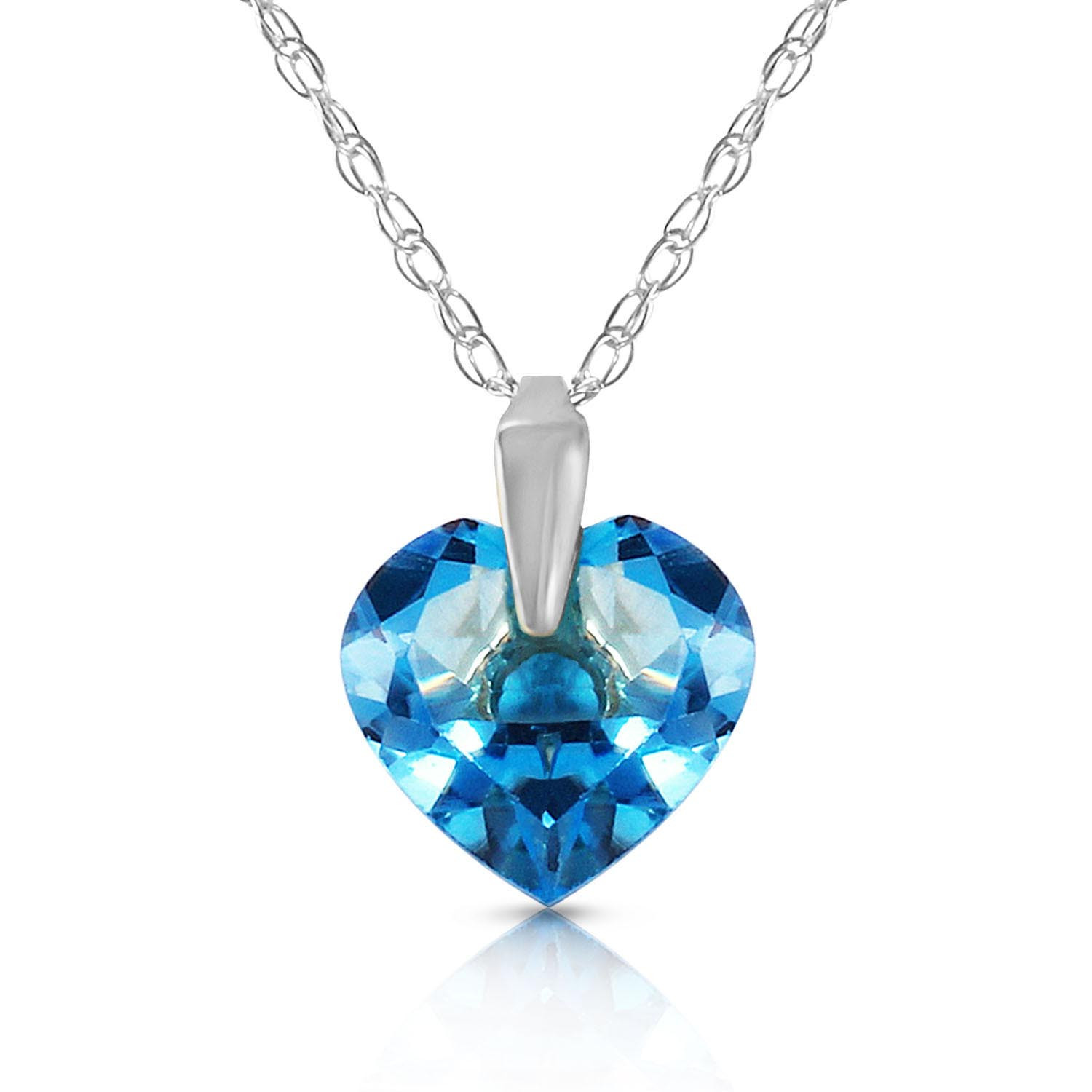 b9316a3550c9ae Blue Topaz Heart Pendant Necklace 1.15 ct in 9ct White Gold - 2357W ...