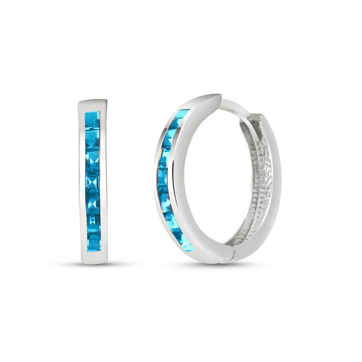 Blue Topaz Huggie Earrings 1.85 ctw in 9ct White Gold