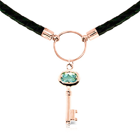Blue Topaz Key Charm Leather Pendant Necklace 0.5 ct in 9ct Rose Gold