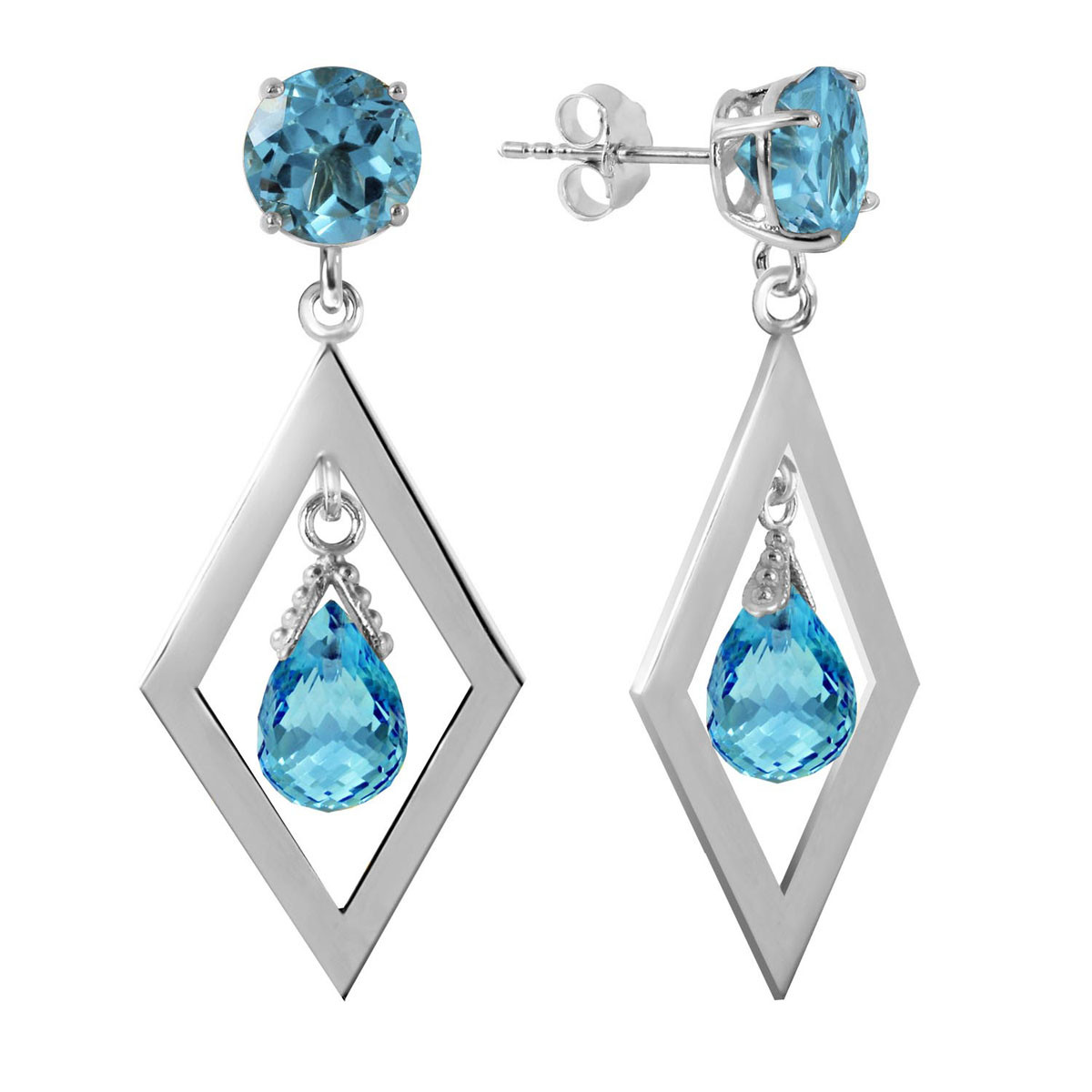 Blue Topaz Kite Drop Earrings 2.4 ctw in 9ct White Gold