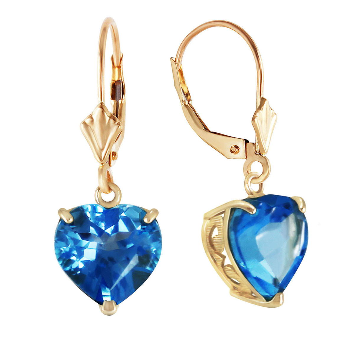 Blue Topaz Large Heart Earrings 12.6 ctw in 9ct Gold