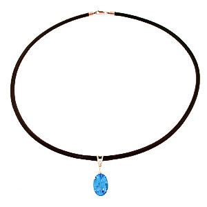 Blue Topaz Leather Pendant Necklace 7.56 ctw in 9ct Rose Gold
