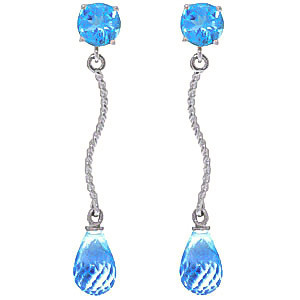 Blue Topaz Lure Drop Earrings 4.3 ctw in 9ct White Gold