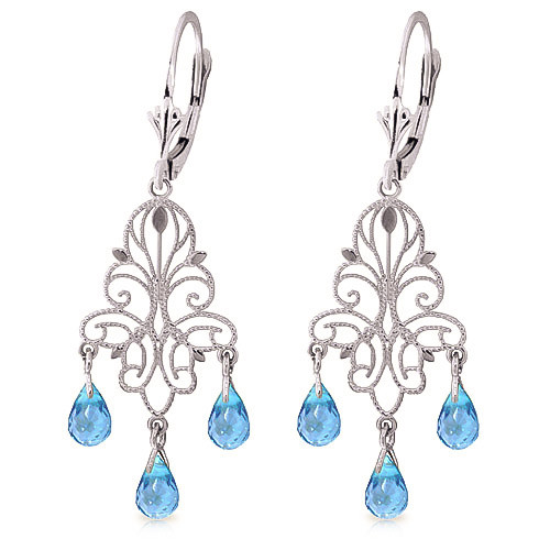 Blue Topaz Mirage Drop Earrings 3.75 ctw in 9ct White Gold