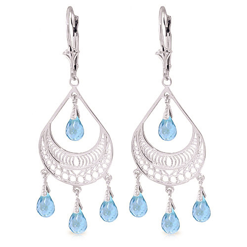 Blue Topaz Mirage Drop Earrings 6.75 ctw in 9ct White Gold