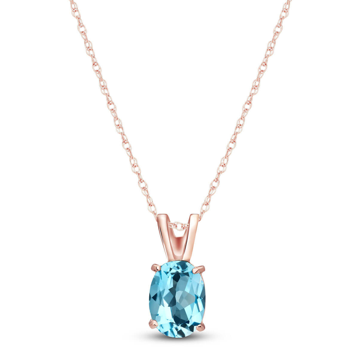 Blue Topaz Oval Pendant Necklace 0.85 ct in 9ct Rose Gold