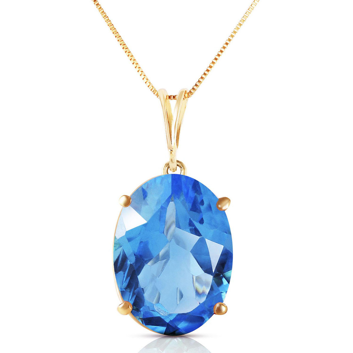 9ct Gold Oval Blue Topaz necklace Pendant no chain Gift Boxed Made in UK