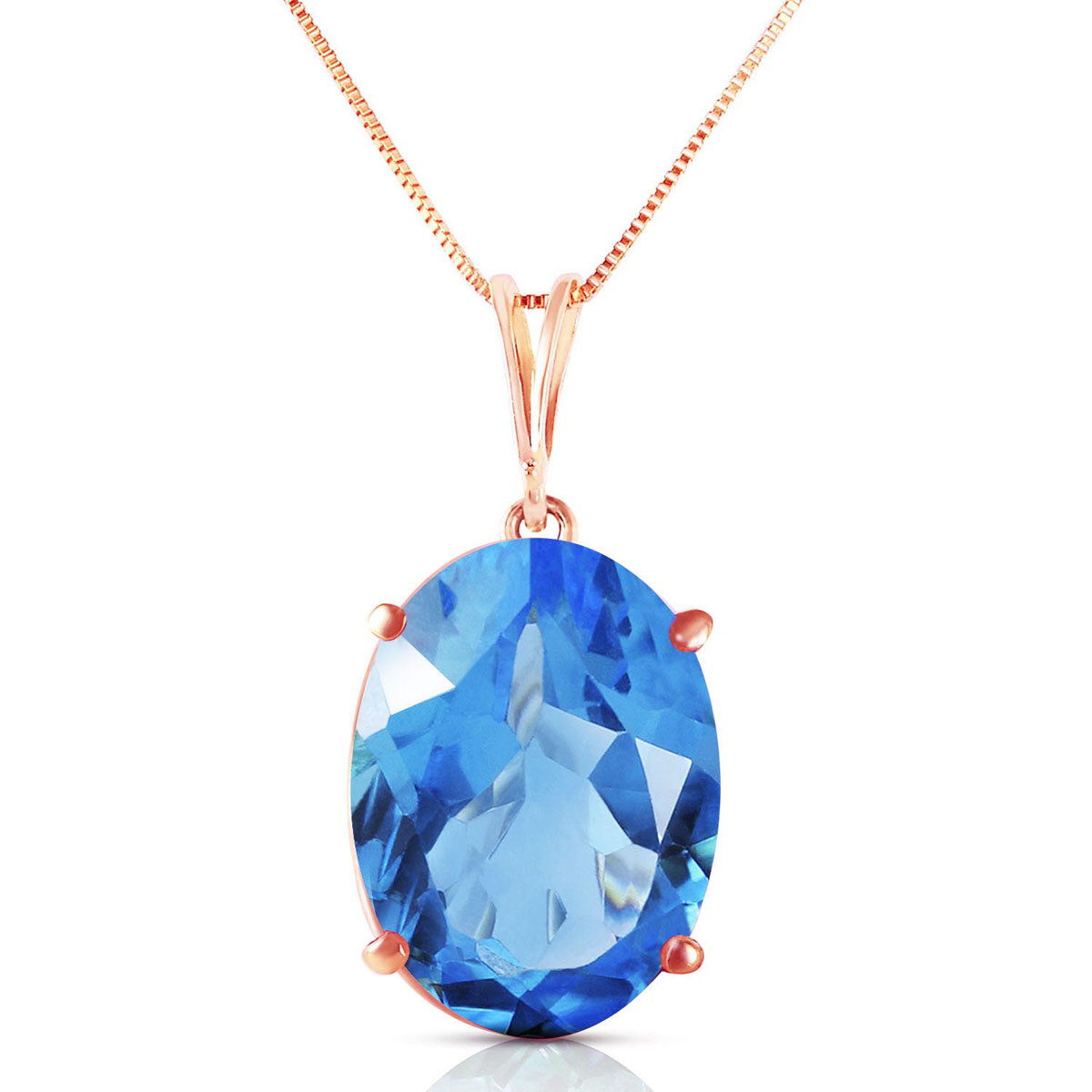 Blue Topaz Oval Pendant Necklace 8 ct in 9ct Rose Gold