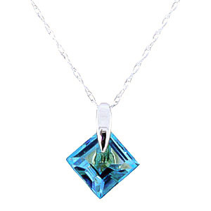Blue Topaz Princess Pendant Necklace 1.16 ct in 9ct White Gold