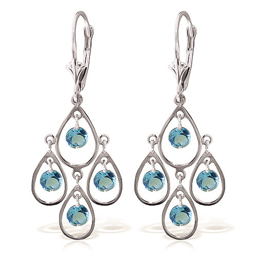 Blue Topaz Quadruplo Milan Drop Earrings 2.4 ctw in 9ct White Gold