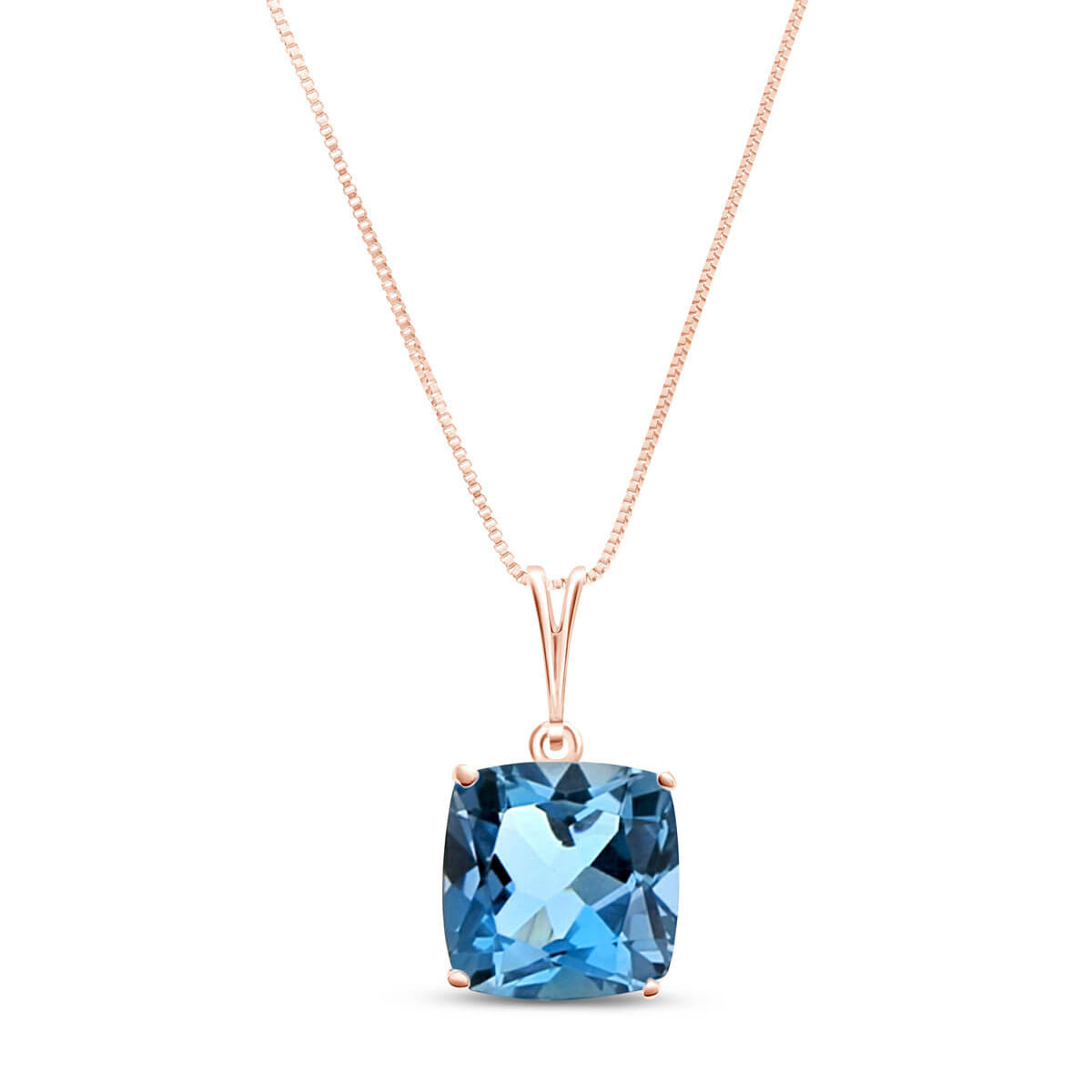 Blue Topaz Rococo Pendant Necklace 3.6 ct in 9ct Rose Gold