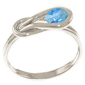 Blue Topaz San Francisco Ring 0.65 ct in 9ct White Gold