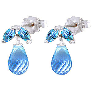 Blue Topaz Snowdrop Stud Earrings 3.4 ctw in 9ct White Gold