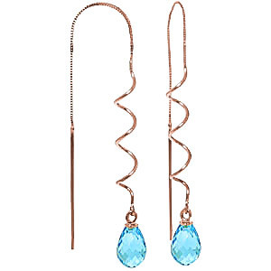 Blue Topaz Spiral Scintilla Earrings 3.3 ctw in 9ct Rose Gold