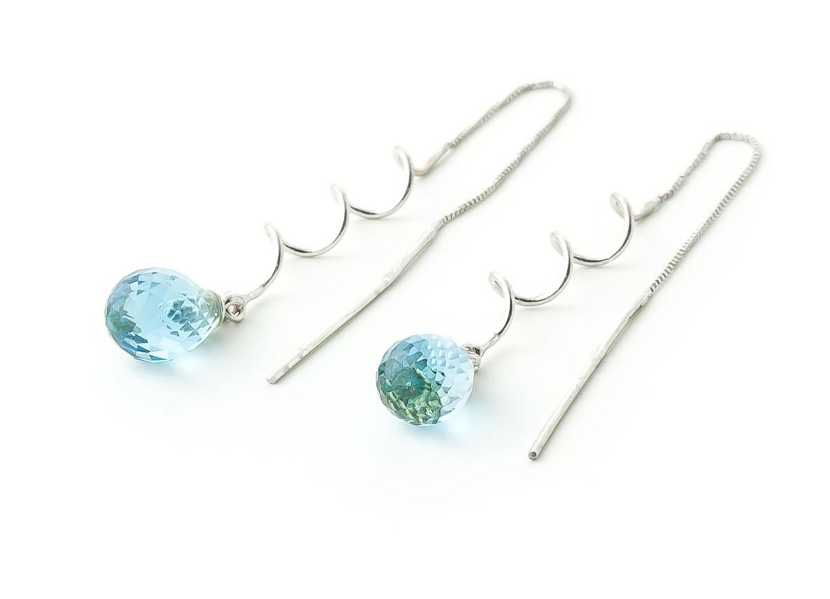 Blue Topaz Spiral Scintilla Earrings 3.3 ctw in 9ct White Gold