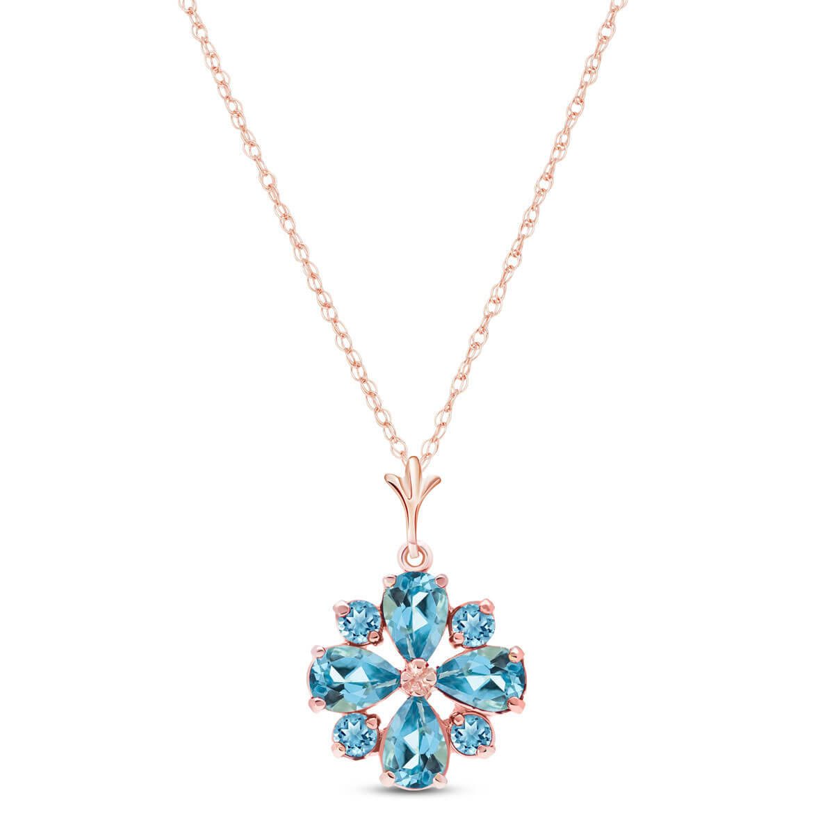Blue Topaz Sunflower Pendant Necklace 2.43 ctw in 9ct Rose Gold