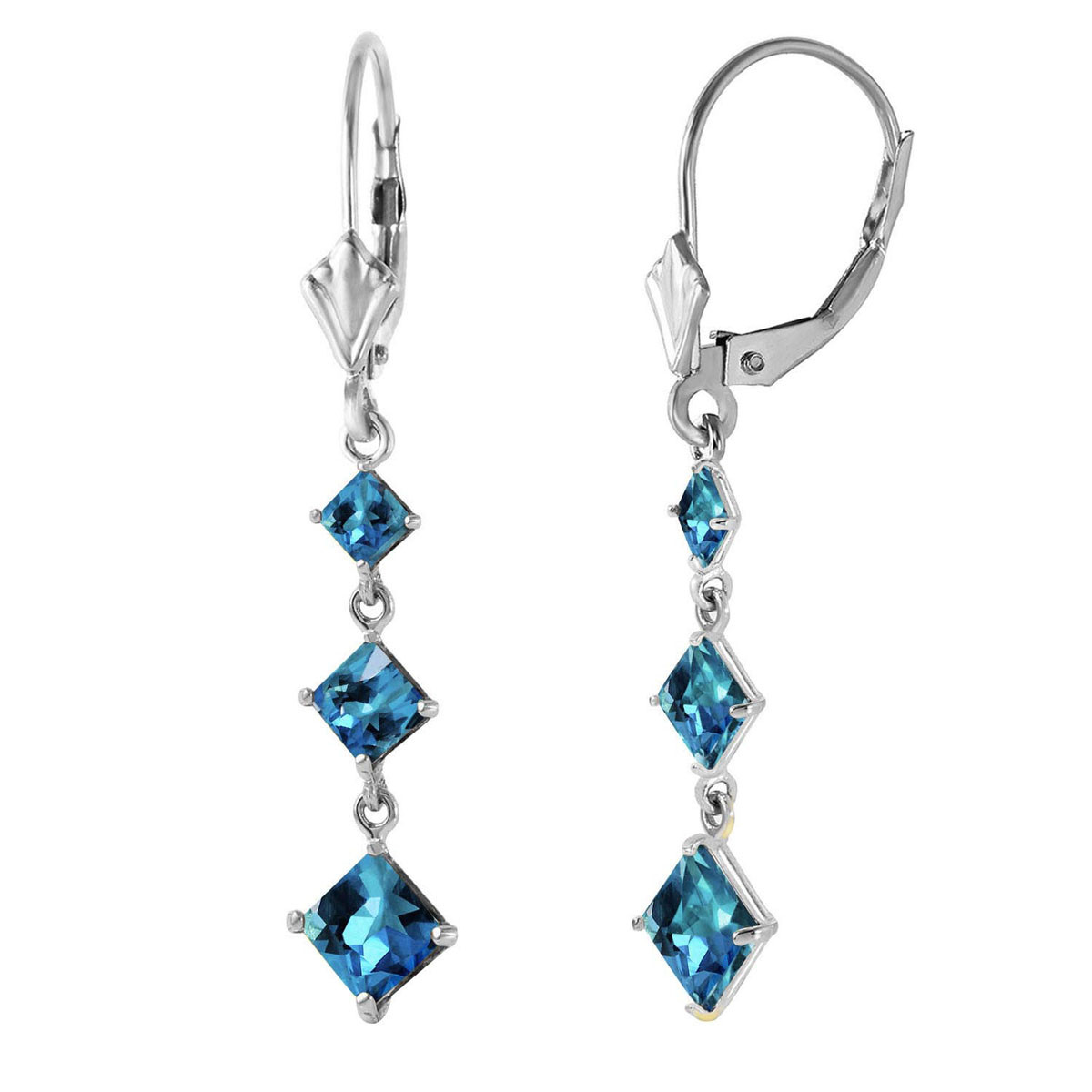 Blue Topaz Three Stone Drop Earrings 4.79 ctw in 9ct White Gold