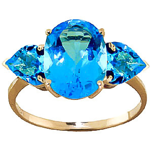 Blue Topaz Three Stone Ring 4.2 ctw in 9ct Gold