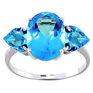 Blue Topaz Three Stone Ring 4.2 ctw in 9ct White Gold