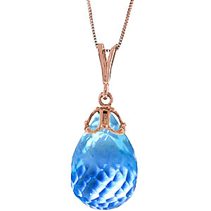 Blue Topaz Tiara Pendant Necklace 10.25 ct in 9ct Rose Gold