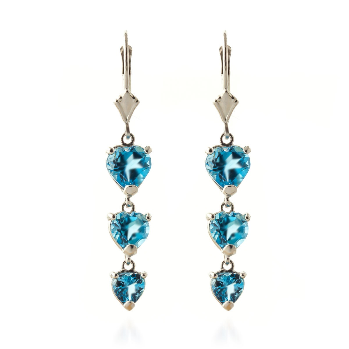 Blue Topaz Triple Heart Drop Earrings 6 ctw in 9ct White Gold