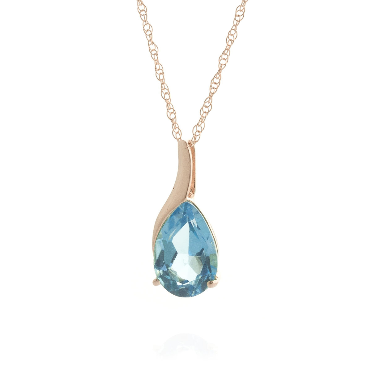 Blue Topaz Tuscany Pendant Necklace 4.7 ct in 9ct Rose Gold