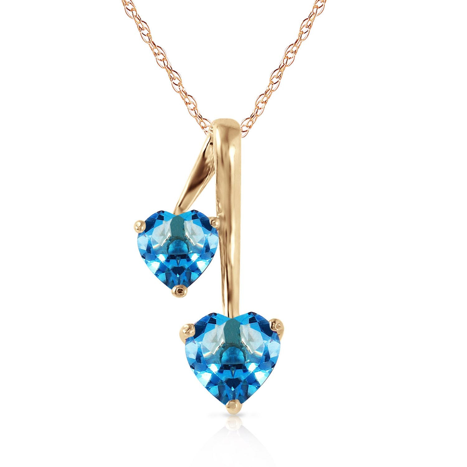 Blue Topaz Twin Pendant Necklace 1.4 ctw in 9ct Gold