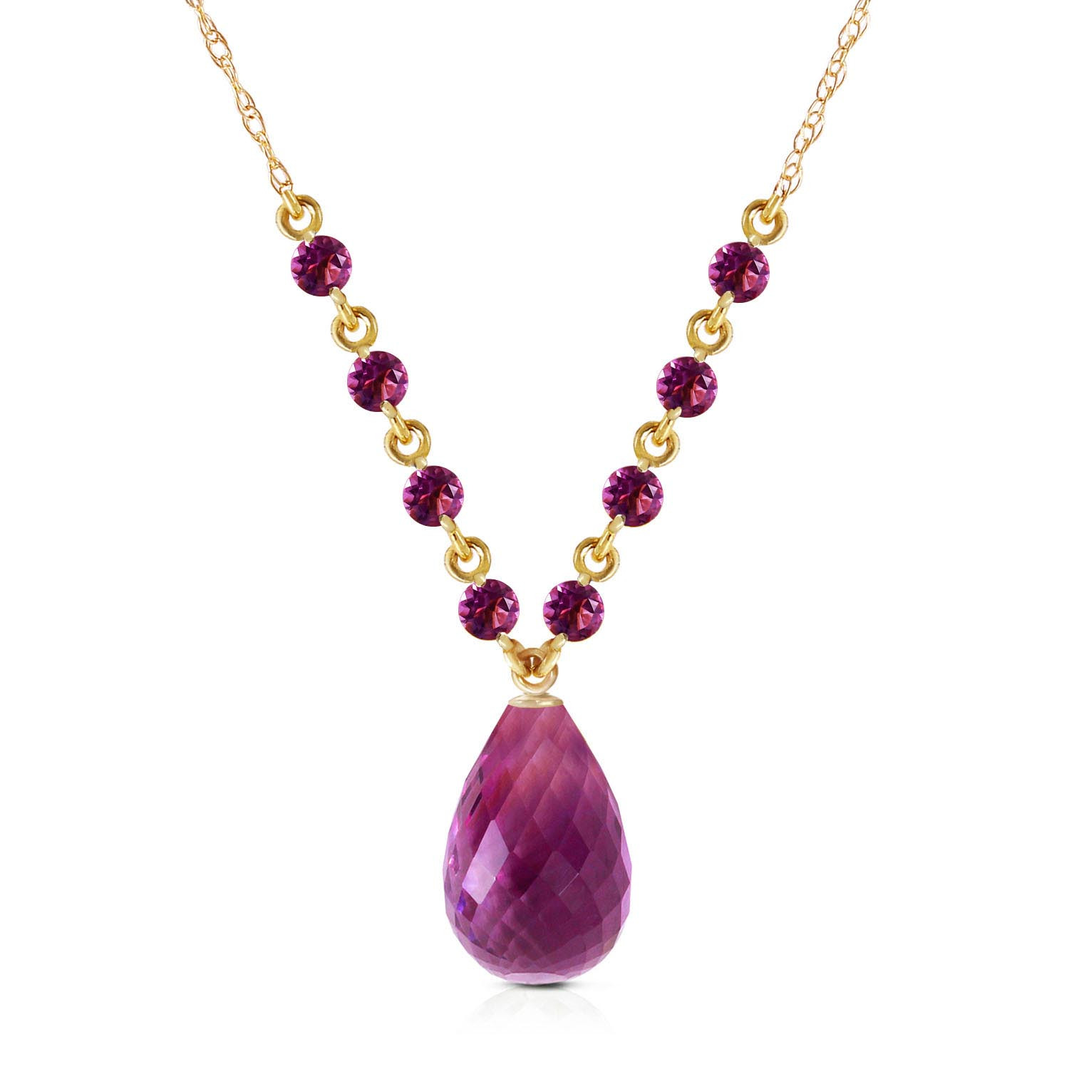 Briolette Cut Amethyst Pendant Necklace 11.5 ctw in 9ct Gold