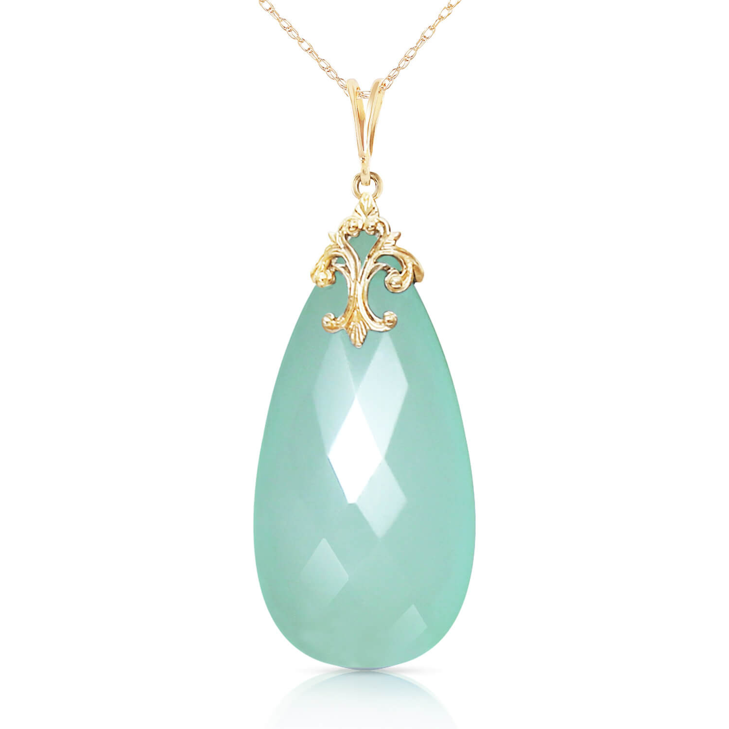 Briolette Cut Chalcedony Pendant Necklace 17.8 ct in 9ct Gold
