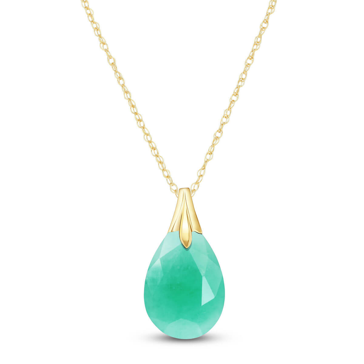 Briolette Cut Emerald Pendant Necklace 4 ct in 9ct Gold