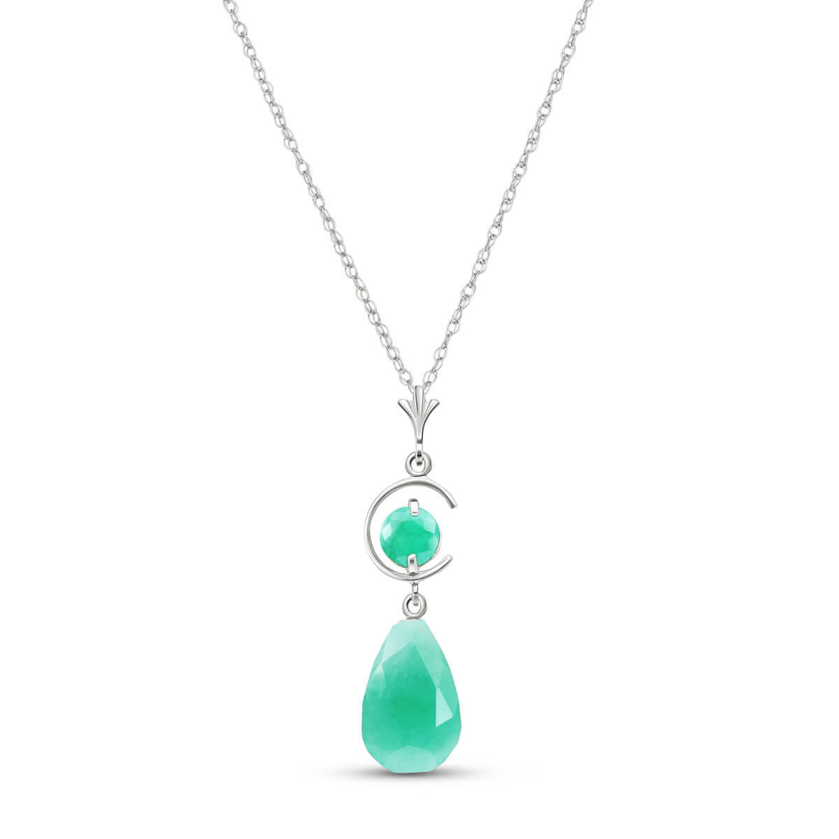 Briolette Cut Emerald Pendant Necklace 9.3 ctw in 9ct White Gold