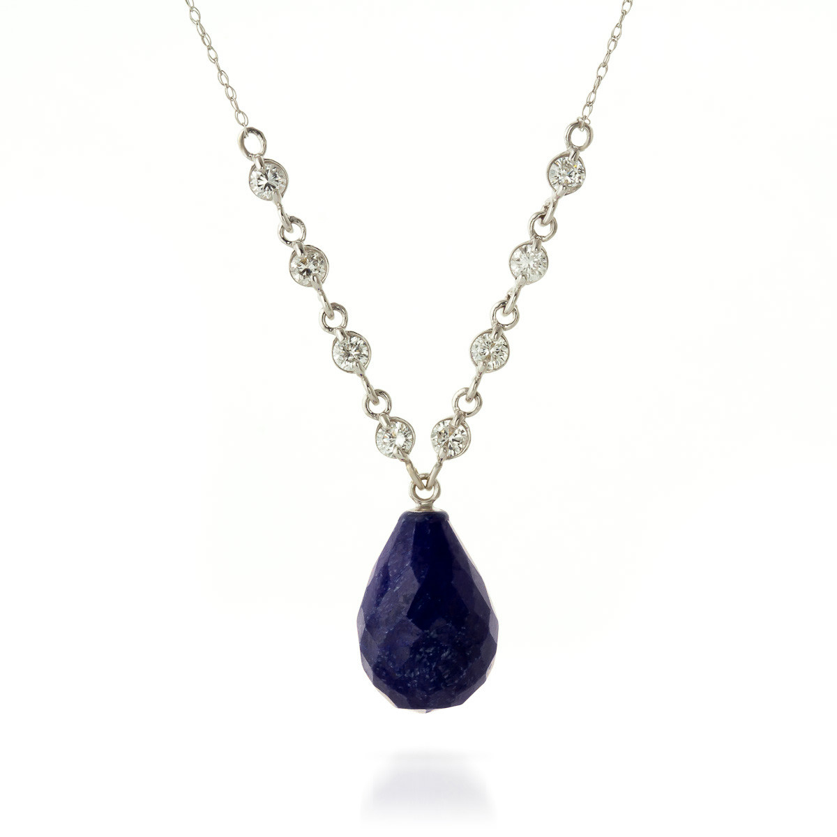 Briolette cut sapphire pendant necklace 156 ctw in 9ct white gold briolette cut sapphire pendant necklace 156 ctw in 9ct white gold aloadofball Choice Image