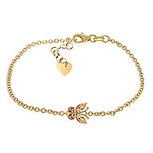 Citrine Adjustable Butterfly Bracelet 0.6 ctw in 9ct Gold
