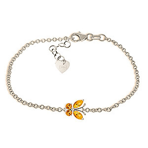 Citrine Adjustable Butterfly Bracelet 0.6 ctw in 9ct White Gold
