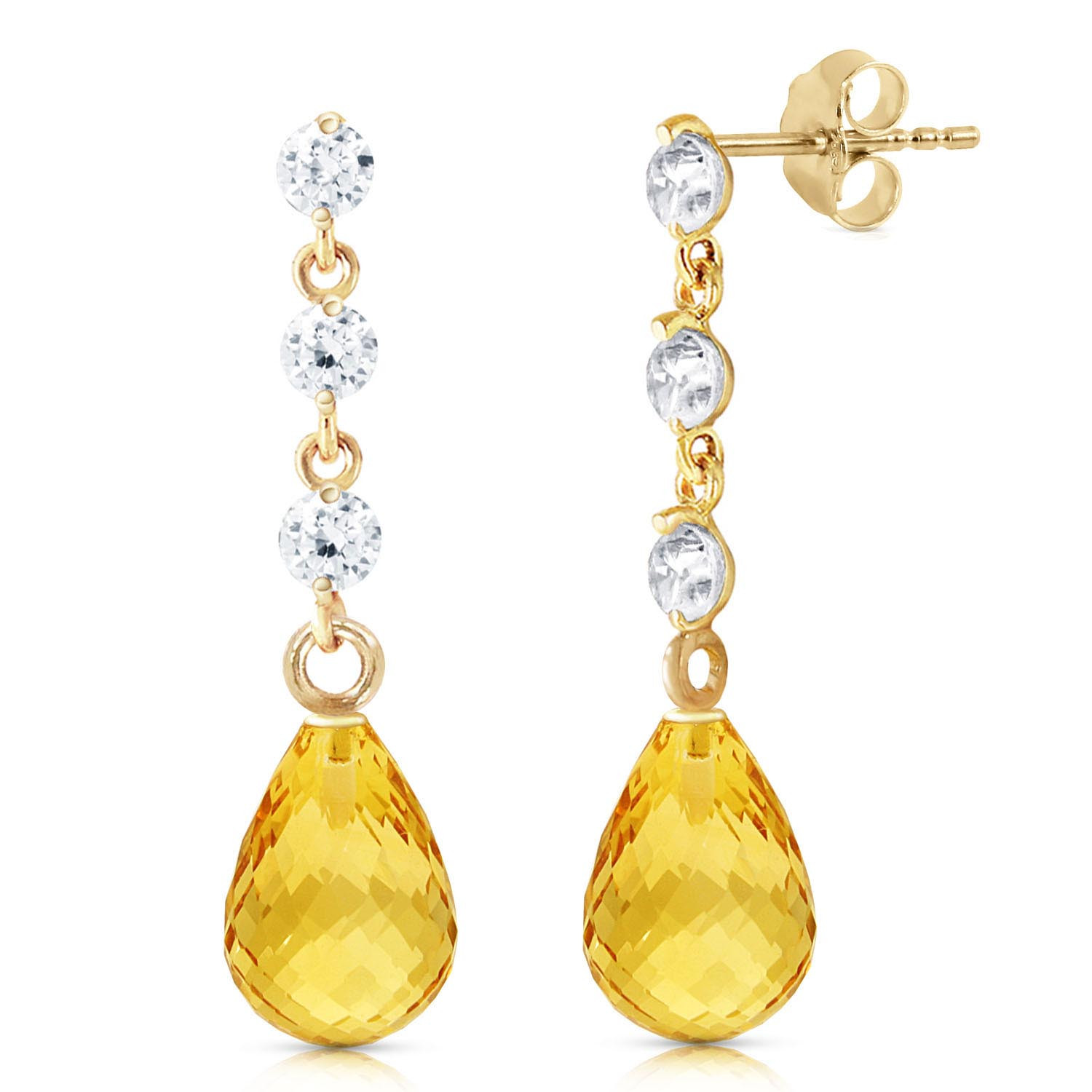 Citrine & Diamond Chain Droplet Earrings in 9ct Gold