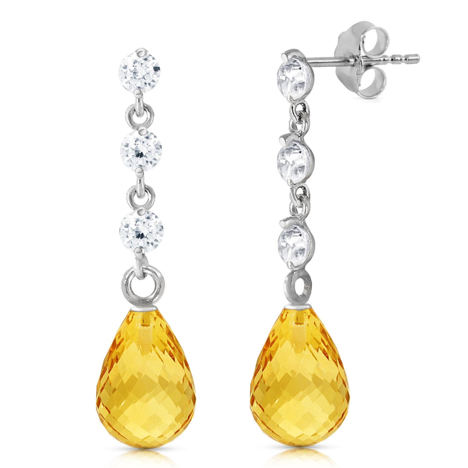 91a427cae Citrine & Diamond Chain Droplet Earrings in 9ct White Gold - 4063W ...