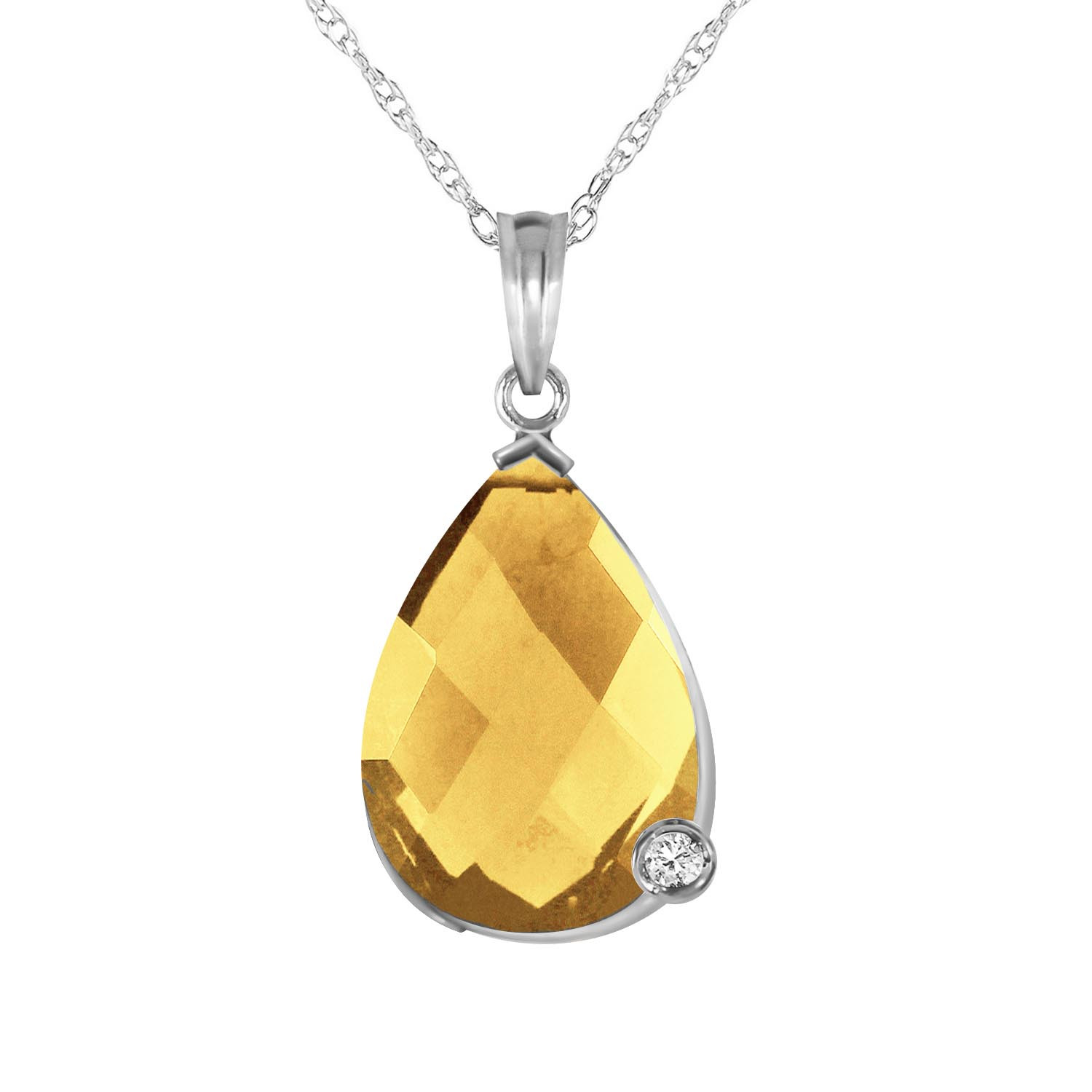 Citrine & Diamond Chequer Pendant Necklace in 9ct White Gold